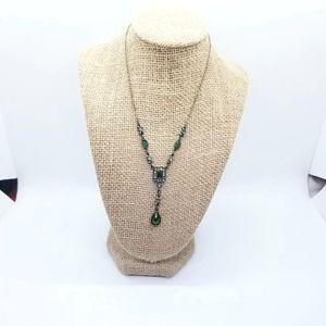 Avon SP Victorian Revival Lariat Necklace Emerald